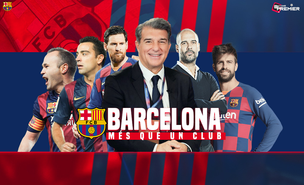 A poster of Barcelona with Joan Laporta, Messi, Pep Guardiola and other players.